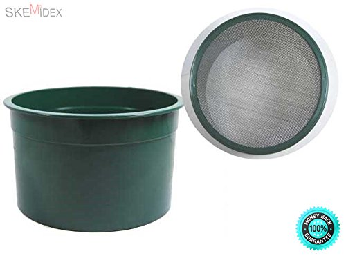 """COLIBROX--- 6"""" Mini Stackable Classifier Sifting Pan Gold Panning 30 Holes Per Inch 304 Stainless Steel Wire Stackable Design PP Plastic Material Color : Green Accessories Detector Metal Parts"""