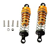 2PCS Metal Front & Rear Shock Absorber, Adjustable Hydraulic Shock Absorber Replacement Upgrade Parts for WLtoys 1/14 RC Car 144001 - Gold