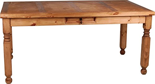 MiaMöbel Esstisch Mexico Möbel 200x100 cm Ansteckplatten Landhausstil Massivholz Pinie Honig