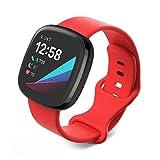 Jvchengxi Compatible con Fitbit Versa 3 Correa/Fitbit Sense Correa, Bandas de Repuesto de Silicona Suave Ajustable Deportivo Pulsera Accesorio para Fitbit Sense/Versa 3 (S, Rojo)