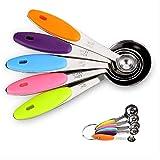 NIAGUOJI - Juego de 5 cucharas medidoras de acero inoxidable con mango de silicona para me...