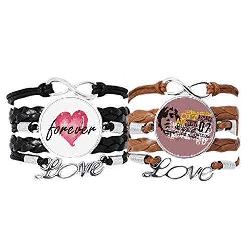 DIYthinker Graffiti Street Culture Urban Tribe Pulsera Correa de mano Cuerda de cuero Forever Love Wristband Set doble