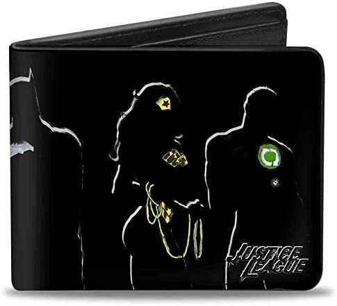 Buckle Down PU Bifold Wallet JUSTICE LEAGUE 5 Superhero Silhouette Group Pose Black Multi Color product image