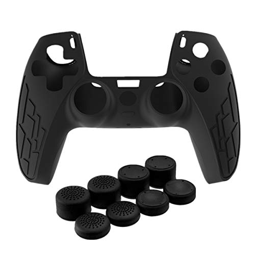 Silicone Cover Skin Case & Thumb-Stick Cap Grip Set for PS5 Controller, Dustproof Durable Controller Grip Protector Anti-Slip Game Protector Case Apply for Sony PS5 Gamepad