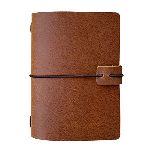 Refillable Leather Travelers Notebook - Passport Size Travel Journal with...