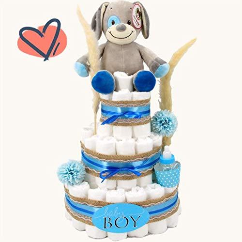 XXL Marken-Windeltorte für Jungen mit Spieluhr & gratis Grußkarte perfekt geeignet als Geschenk zur Geburt für Babyparty