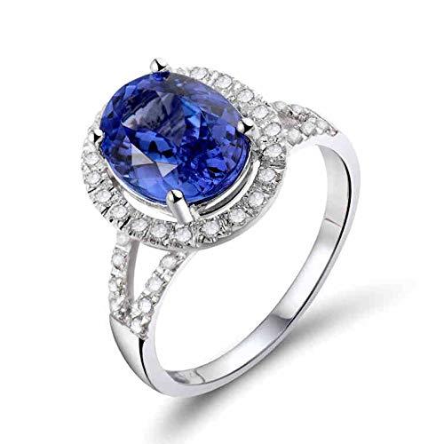 AnazoZ Anillo con Tanzanita Mujer,Anillo Compromiso Mujer Oro Blanco 18K Plata Azul Oval Tanzanita Azul 2.67ct Diamante 0.18ct Talla 12