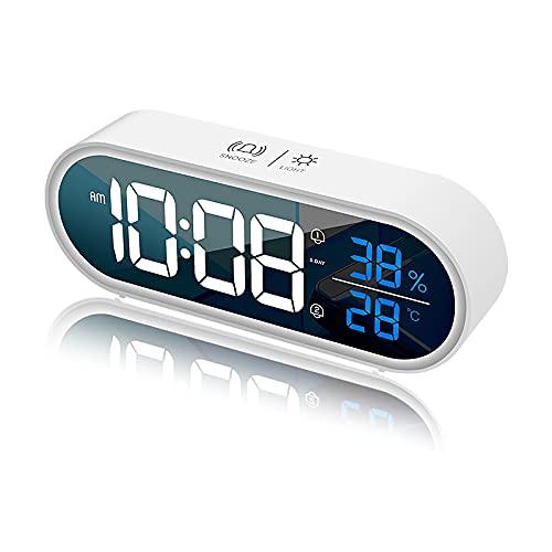 Reloj despertador digital LED con función Snooze, despertador inteligente con activación de voz, alarma de doble modo con pantalla de temperatura y humedad, ajuste de brillo a 5 niveles