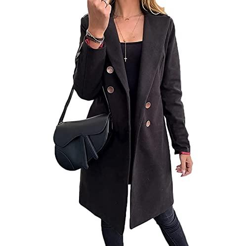 Yokbeer Damski Trencz Dwurzędowy Długi Płaszcz Klasyczna Kurtka Jesienno- wiosenna Wiatroodporny Płaszcz (Color : Black, Size : XXL)