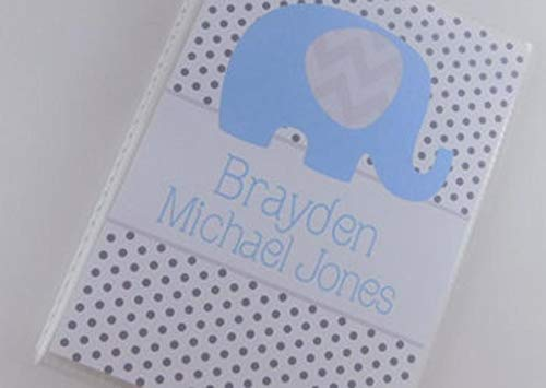 Baby Photo Album Blue Elephant PERSONALIZED 4x6 or 5x7 Pictures IA#729