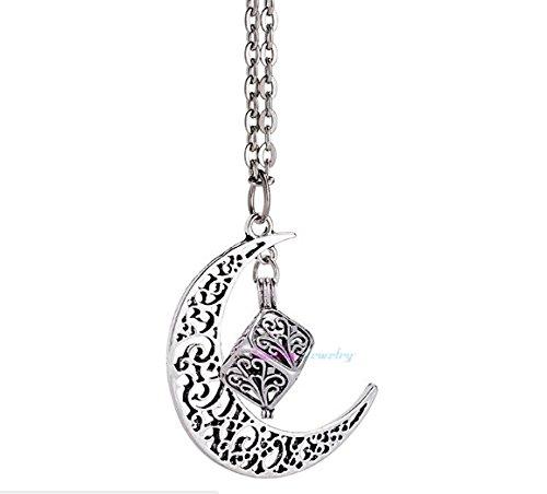 Aromatherapie Halskette Mond Aroma Anhänger mit Kette At105 Farbe Antik Silber