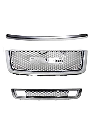 Gldifa Compatible with 2007-2013 GMC Sierra 1500 Denali Chrome ABS Top+Upper+Lower Bumper Mesh Grille
