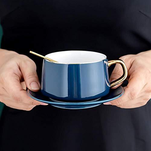 Taza de café de cerámica con almohadilla, taza de té de 230 ml con caja de regalo, gran regalo para esposa, madre y niña (caja de regalo azul real)