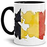 Tassendruck Flaggen-Tasse Belgien Innen und Henkel Schwarz - Fahne/Länderfarbe/Wasserfarbe/Aquarell/Cup/Tor/Qualität Made in Germany