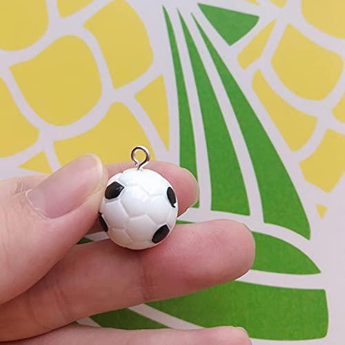 LLBBSS 10 Unids/Pack Deporte Baloncesto Fútbol Bádminton Resina Encantos Colgante Pendiente Llavero Accesorios De Bricolaje Estilo 3D