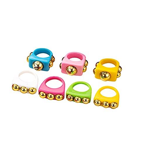 Hpory Anillos acrílicos vintage, 7 unidades, coloridos, anillos de resina, juego de anillos anchos, joyas para mujer, anillos apilables, anillos de banda geométrica