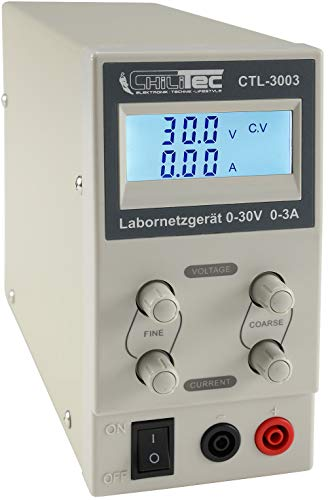 Labornetzgerät mit beleuchtetem Display 0-30V Regelbar I max. 3A 90Watt Kurzschlussfest Überlastschutz