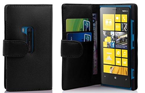Cadorabo Custodia Libro per Nokia Lumia 920 in Nero - con Vani di Carte e Funzione Stand di Similpelle Fine - Portafoglio Cover Case Wallet Book Etui Protezione