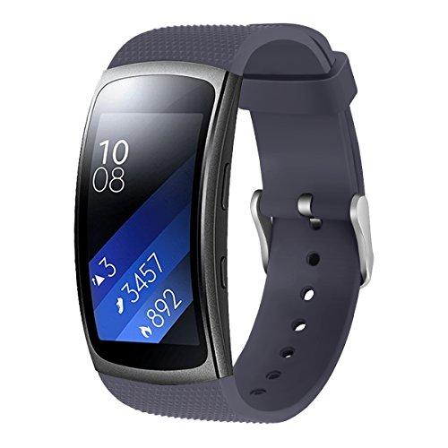SUNDAREE Compatible con Gear Fit 2 Pro/Gear Fit 2 Correa,Silicona Reemplazo Correas Banda Pulseras de Reloj Inteligente para Samsung Gear Fit 2 Pro SM-365/Gear Fit 2 SM-360(Fit2 Gris)