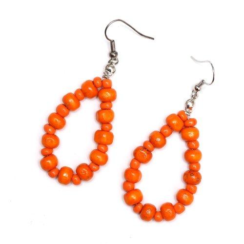 Idin Handgemachte Ohrringe - Orange Holz- und Glasperlen (ca. 63 mm)