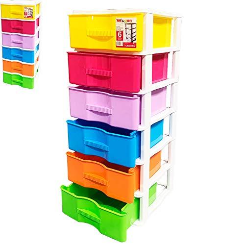 Acan Cajonera Wagon 6 cajones Multicolores con 4 Ruedas 102 x 38 x 39 cm