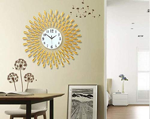 YLCJ wandklok met klok decoratieve wand lounge gepersonaliseerde klok grote Europese stille creatieve en moderne wandklok industrieel kwartshorloge (zwart 60cm)