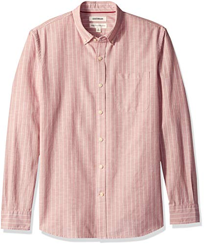 Amazon Brand - Goodthreads Men's Standard-Fit Long-Sleeve Chambray Shirt, Pink Stripe, X-Large