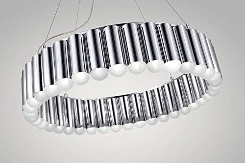 Riesiger Bauhaus Kronleuchter Deckenlampe Museum Café Bar Restaurant Lounge Silber Chrom Ø 120 cm 59 LED`s. Qualität.