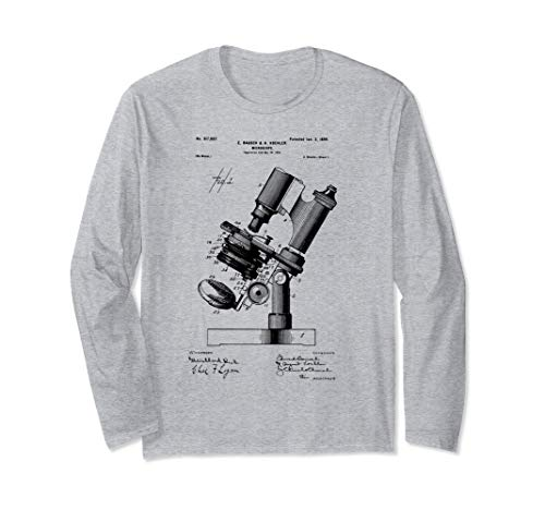Microscope Microscopy Biologist Gift Patent microbiologist Long Sleeve T-Shirt
