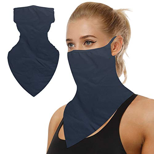 TJOY Neck Gaiter Navy Blue, Thanksgiving Face Mask Quick Dry Moisturizing Neck Gaiter Hunting Hiking Neck Gaiter Cooling Face Mask Neck Gaiter with Earloops Sun UV Protection Sports Face Mask 1 PCS