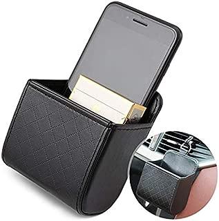 TRUE LINE Automotive Car Interior Air Vent Dash Mount Phone Storage Coin Bag Case Organizer Cellphone Holder Box with Hook (Black)