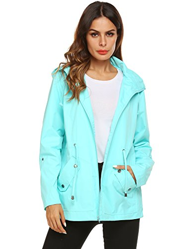 ZHENWEI Jogging Rain Jacket,Women Waterproof Breathable Lined Anorak(Light Green,3XL)