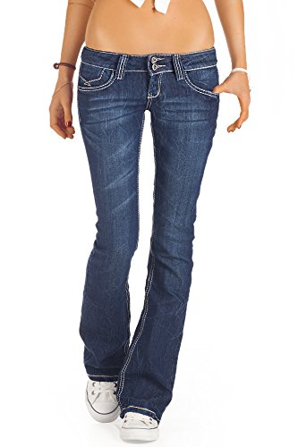 bestyledberlin Damen Jeans, Bootcut Hüftjeans, Schlaghosen j73e – 38/M