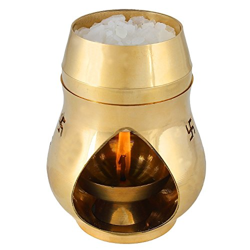 Creativegifts Positive Aura Brass Camphor Lamp- Protect House from All Negative Energies (Gold)