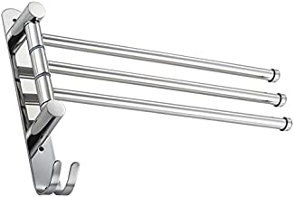 Handtuchhalter Drehbarer 180/° 3,Schwarz Handtuchstange 3 Arme Ohne Bohren Badetuchhalter f/ür Hause B/üro Shop Restaurant