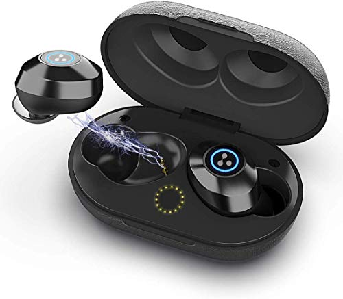Syllable S105 Bluetooth Earbuds V5.0 Stereo Noise Cancelling in Ear Headphones TWS Mini Dual Earbuds, Headsets with Mic IPX6 Waterproof Sports Earphones with Charging Case - Black
