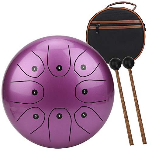 Tambor de lengua de acero,8 notas,8 pulgadas,tecla C,tambor de mano de aleación de acero-Ti etéreo con bolsa a prueba de golpes,percusión de tambor sin preocupaciones para adultos y niños(Púrpura)