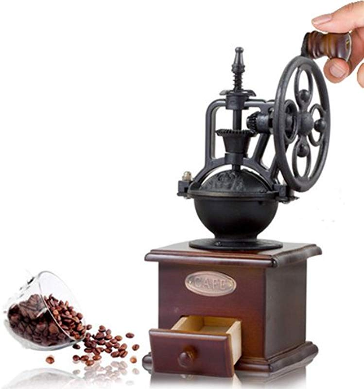 Cosy YcY Manual Coffee Grinder Wooden Coffee Mill Drawer Coffee Bean Spice Grinder Ceramic Grinding Core Manual Grinder Burr Coffee Grinder Vintage Style Coffee Mill Coffee Grinder