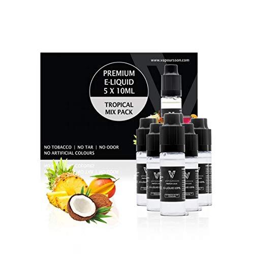 VAPOURSSON 5 X 10ml E Liquid Tropical Mix, 0mg (Ohne Nikotin) Cocktail, Kokosnuß, Mango, Ananas, Pinacolada, Neu Super Formel, VG & PG Mix, Hergestellt für E-Zigaretten und E-Shisha