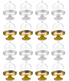 BILLIOTEAM 16 Packs Plastic Mini Cake Stand with Dome, Mini Cupcake Stand Plate with Lid, Cake Stand Candy Box Bulk for Wedding, Birthday, Baby Shower, Tea Party Supplies (Gold and Silver)