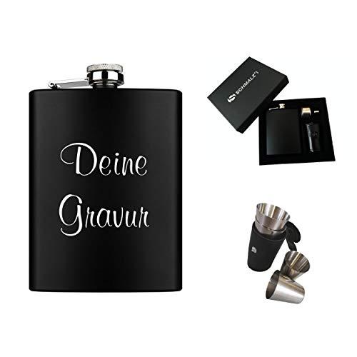 Schmalz® Flachmann-Set schwarz 7-teilig aus Edelstahl inklusive Gravur Geschenkverpackung Stamperl Etui Schnapsbecher Einfülltrichter Lasergravur