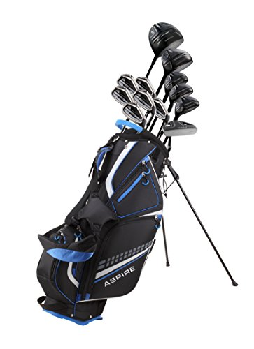 """19 Piece Men's Complete Golf Club Package Set with Titanium Driver, 3 Fairway Wood, 3-4-5 Hybrids, 6-SW Irons, Putter, Stand Bag, 5 H/C's - Choose Options! (Tall Size +1"""", Special Ti-Face Driver)"""
