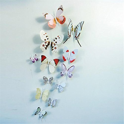 Vovotrade® 12x 3D Papillon Wall Sticker Aimant Chambre Decor Decal Applique Butterfly Wall Sticker Fridge Magnet Room (color)