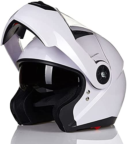 Casco de Motocicleta con Tapa Frontal Cascos Integrales Invierno Casco Modular Carreras Motos ECE Homologado con Seguridad de Doble Lente Casco Protector Moto con Visera Solar Dual C,XL=58~59cm