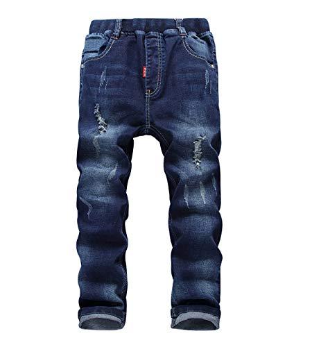YoungSoul Jungen Jeans Zerrissen Regular Fit Kinder Jeanshosen mit Gummizug, Blau Ripped, 128-134/Größe 130