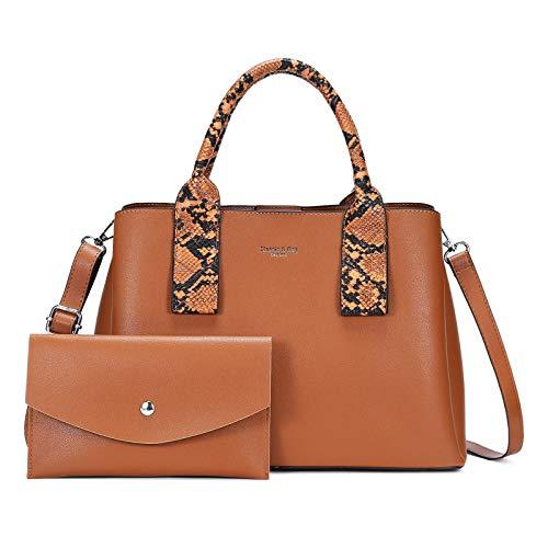 Bolsos de Mano Mujer 2 Piezas,Bolso Señora Shopper Tote Cuero PU Crossbody Bag Bolsos de Hombro Compra Trabajo Escuela Cartera de Mano,Marrón