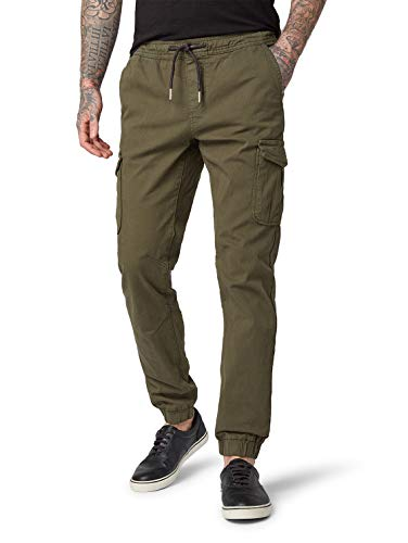 TOM TAILOR Denim Herren Hose Slim Cargohose, Grün (Woodland Green 10373), Medium
