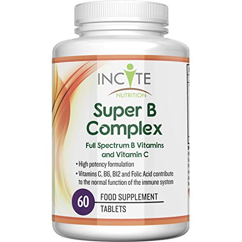 Vitamin B Complex High Strength Vitamins C, B1, B2, B3, B5, B6, B12, Folic Acid and Biotin | Suitable for Vegetarians and Vegans + GMO Free| 60 Premium Easy Swallow Tablets | Made in The UK by Incite Nutrition
