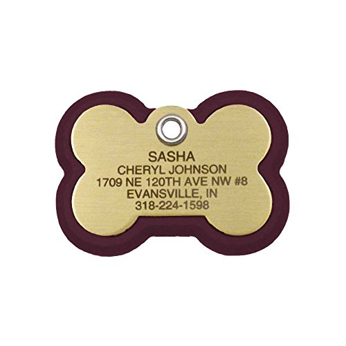 LuckyPet Pet ID Tag, Bone Frame Tag, Rugged Dog Tags with Colorful Frame, Custom Engraved, Large, Burgundy & Brass