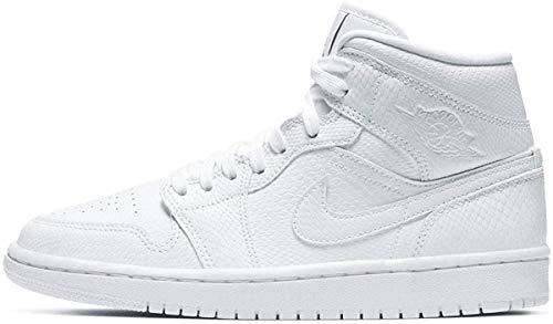 Nike Wmns Air Jordan 1 Mid, Scarpe da Basket Donna, White/White-Black, 37.5 EU